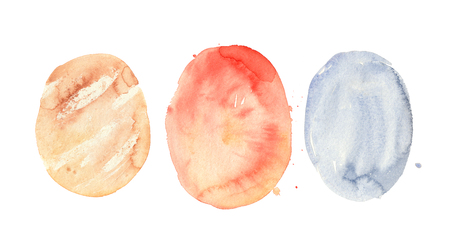 Abstract watercolor colorful washes of paint. Beige, red, blue pastel circles isolated on white