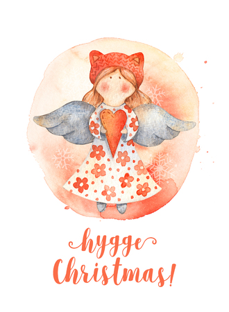 Christmas Greeting Card with Cute cartoon character - angel with red heart and knitted hat. Winter postard illustration of scandinavian or christian character with snowflakes. Hygge christmas