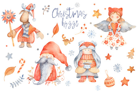 Set of Christmas Hygge Cute cartoon characters - gnome, girl with cup of tea, angel, moose. Winter set of new year scandinavian characters, floral elements, and snowflakes