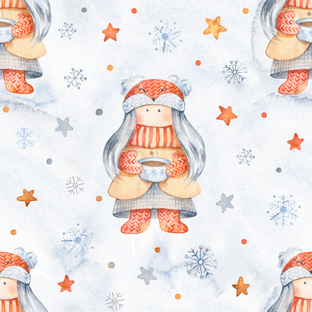 Christmas Seamless patternd with Cute cartoon characters - little girl wuth cuo of tea. Winter wrapping paper with scandinavian character, stars and snowflakes Stok Fotoğraf