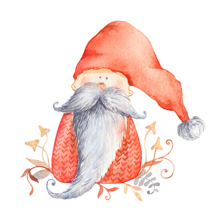 Christmas gnome with long beard and red pointed hat. Christmas Illustration for winter postard, scandinavian character. Isolated on white