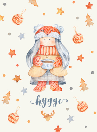 Christmas Greeting Card with Cute cartoon character - little girl with foxy hat, cup of tea. Winter postard illustration of scandinavian or christian character with snowflakes. Hygge christmas