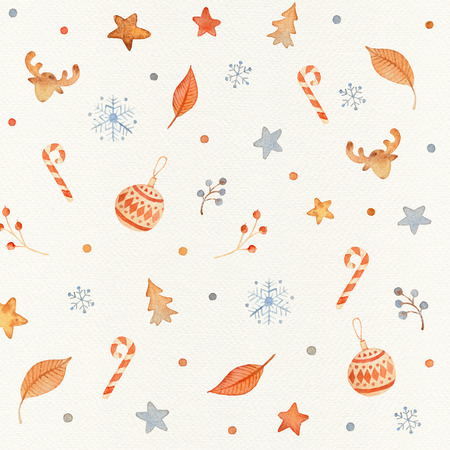 Christmas Seamless patternd with holiday decor and floral elements - christmas balls, candies, deer, stars, firs. Winter wrapping paper with scandinavian decorations on a paper texture Stok Fotoğraf