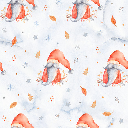 Christmas Seamless patternd with Cute cartoon character - Christmas gnome with long beard and red hat. Winter wrapping paper with scandinavian character, snowflakes and floral decor