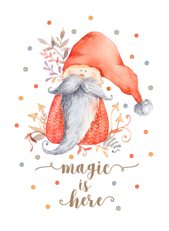 Christmas Greeting Card with Cute cartoon character - Christmas gnome with long beard and red pointy hat. Winter postard illustration of scandinavian character with floral decor. Magic is here 免版税图像