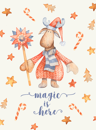 Christmas Greeting Card with Cute cartoon character - Moose with knitted sweater, red pointy hat. Winter postard illustration of scandinavian or christian character with snowflakes. Magic is here 免版税图像