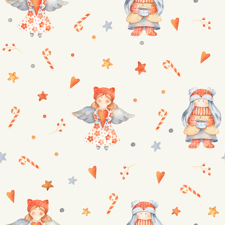 Christmas Seamless patternd with Cute cartoon characters - little angel and girl. Winter wrapping paper with scandinavian character, stars, candiess and floral decor