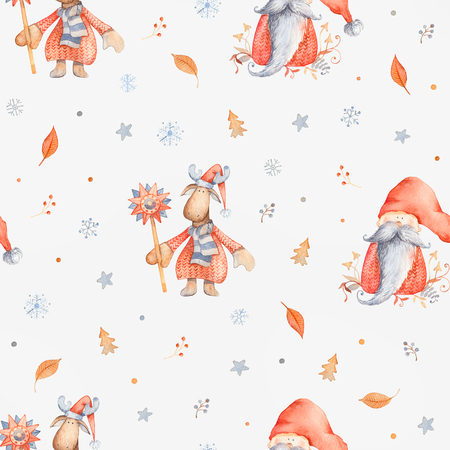Christmas Seamless patternd with Cute cartoon character - Christmas moose and gnome with long beard and red hat. Winter wrapping paper with scandinavian character, snowflakes and floral decor
