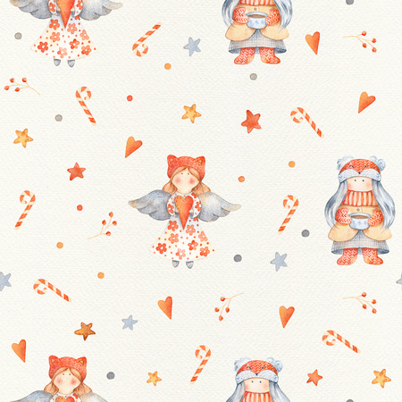 Christmas Seamless patternd with Cute cartoon characters - little angel and girl. Winter wrapping paper with scandinavian character, stars, candiess and floral decor on a paper texture