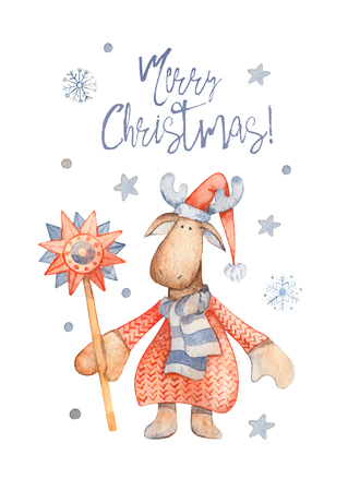Christmas Greeting Card with Cute cartoon character - Moose with knitted sweater, red pointy hat. Winter postard illustration of scandinavian or christian character with snowflakes. Merry christmas 写真素材