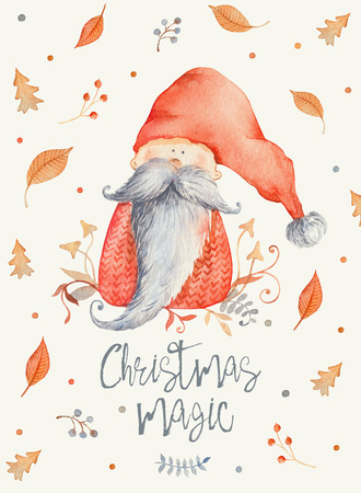 Christmas Greeting Card with Cute cartoon character - Christmas gnome with long beard and red pointy hat. Winter postard illustration of scandinavian character with floral decor. Christmas magic