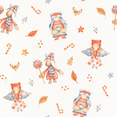 Christmas Seamless patternd with Cute cartoon characters - Christmas moose, gnome, little girl and angel. Winter wrapping paper with scandinavian decor on a paper texture 写真素材