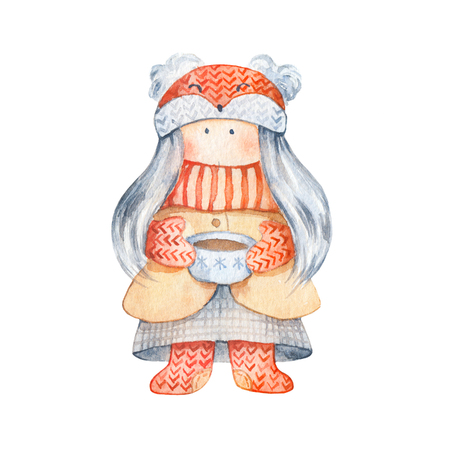 Little girl with knitted scarf and foxy hat, cup of tea - Cute cartoon character. Christmas Illustration for winter postard, scandinavian character. Isolated on white 写真素材