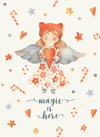 Christmas Greeting Card with Cute cartoon character - angel with red heart and knitted hat. Winter postard illustration of scandinavian or christian character with snowflakes. Magic is here