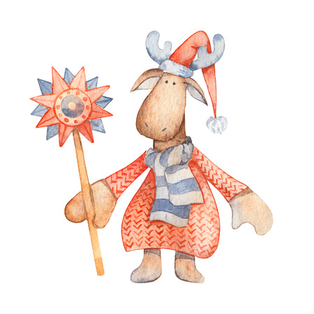 Moose with Christmas star, scarf, knitted red sweater and red pointy hat. Christmas Illustration for winter postard, scandinavian character. Isolated on white