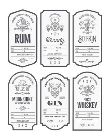 Set of vintage bottle label design with ethnic elements in thin line style. Alcohol industry emblem, distilling business. Monochrome, black on white. Editable text Reklamní fotografie - 127257728
