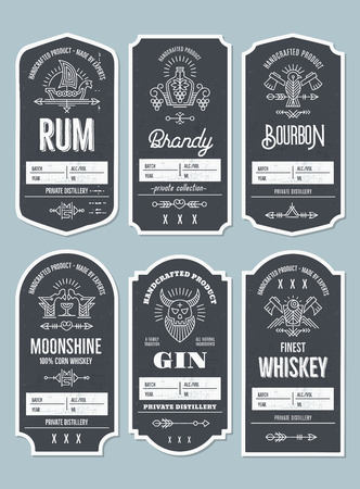 Set of vintage bottle label design with ethnic elements in thin line style. Alcohol industry emblem, distilling business. Monochrome, black on white. Place for text