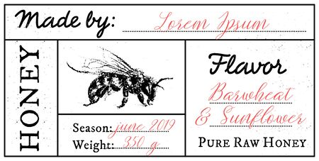 Vector card template with honey bee emblem and space for text. Pure raw honey label with editable text. Minimalist design, black and white