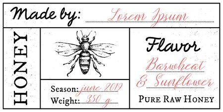 Vectorkaartsjabloon met honingbijembleem en ruimte voor tekst. Puur rauw honinglabel met bewerkbare tekst. Vector Illustratie