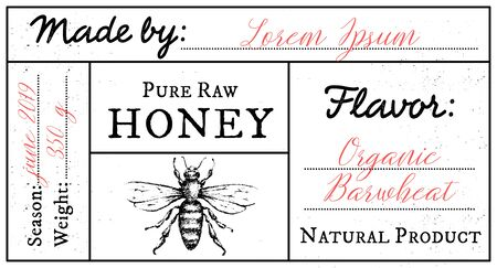 Vector card template with honey bee emblem and space for text. Pure raw honey label with editable text.