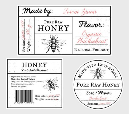 Set of vector card templates with honey bee - lid, front and back labels. Space for text. Pure raw honey label collection with editable text. Minimalist design, black and white Illustration