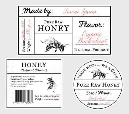 Set of vector card templates with honey bee - lid, front and back labels. Space for text. Pure raw honey label collection with editable text. Minimalist design, black and white Иллюстрация