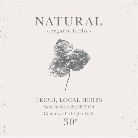 Customizable label of Natural organic herbal products. Shamrock vintage packaging design templates for Cosmetics, Pharmacy, healthy food. Dried leaves, real herbarium