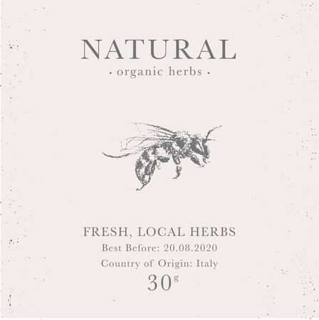 Customizable label of Natural organic honey products. Bee vintage packaging design templates for Cosmetics, Pharmacy, healthy food. Beekeeping emblem