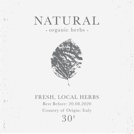 Customizable label of Natural organic herbal products. Vintage packaging design templates for Cosmetics, Pharmacy, healthy food. Dried leaves, real herbarium Çizim