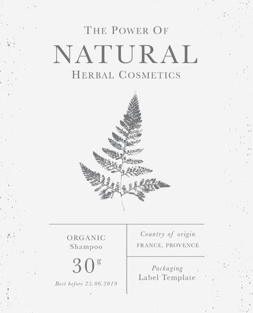 Customizable label of Natural organic herbal products. Fern intage packaging design templates for Cosmetics, Pharmacy, healthy food. Dried leaves, real herbarium