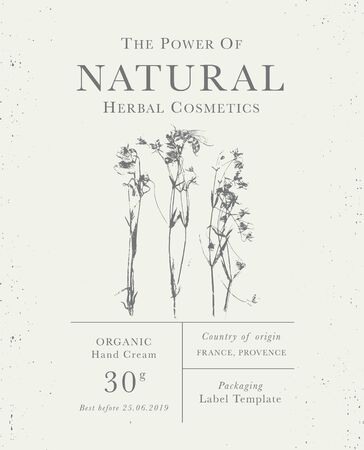 Customizable label of Natural organic herbal products. Honey herbs vintage packaging design templates for Cosmetics, Pharmacy, healthy food. Dried leaves, real herbarium Illustration