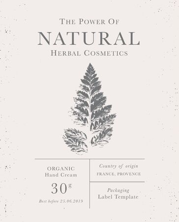 Customizable label of Natural organic herbal products. Fern vintage packaging design templates for Cosmetics, Pharmacy, healthy food. Dried leaves, real herbarium