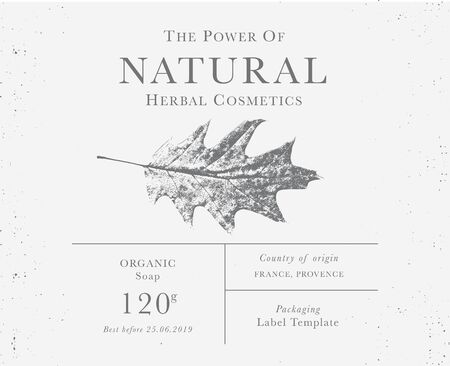 Customizable label of Natural organic herbal products. Red oak, vintage packaging design templates for Cosmetics, Pharmacy, healthy food. Dried leaves, real herbarium