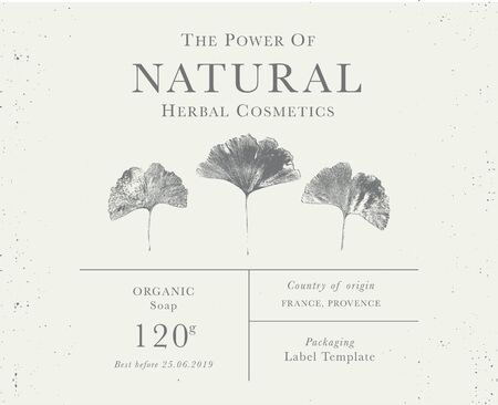 Customizable label of Natural organic herbal products. Ginkgo biloba vintage packaging design templates for Cosmetics, Pharmacy, healthy food. Dried leaves, real herbarium
