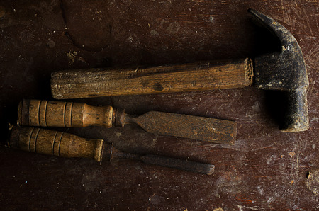 chisel: Still life for wooden tools with hammer and chisel Stock Photo
