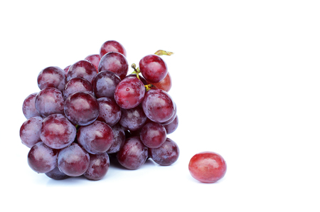 tendrils: Cool fresh Bunch of red grapes on white backgrounds, Place for your text Stock Photo