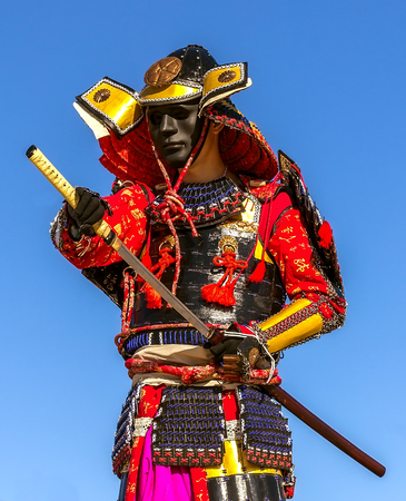 samurai warrior: samurai warrior armor pulls the sword attack, clouse-up Stock Photo