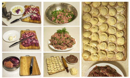 ground beef: cooking meat. cooking homemade ravioli and pork ground beef. clouse-up