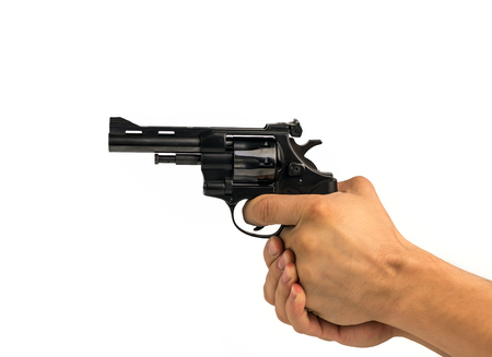 hand holding a gun, aiming at white background