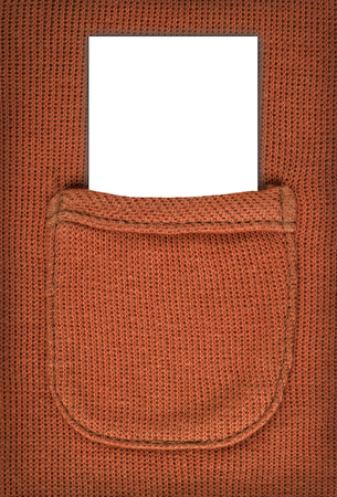for text: note looks knitted woolen pocket. space for text.