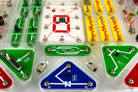 constructor: children constructor on electronics. educational toys for children. Stock Photo