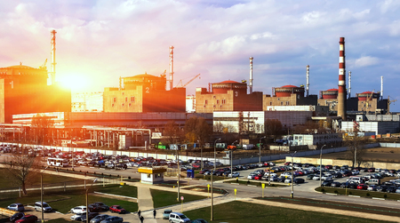 nuclear power plant: nuclear power plant at sunset, in the center of Europe. Industry and ecology. Editorial