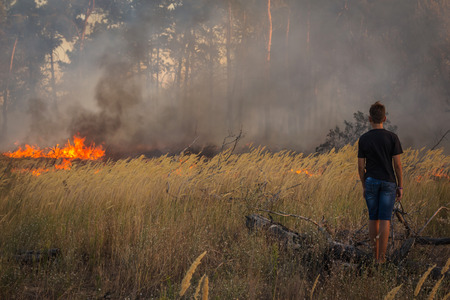 wildfire: wildfire. danger, a person close to the fire Stock Photo