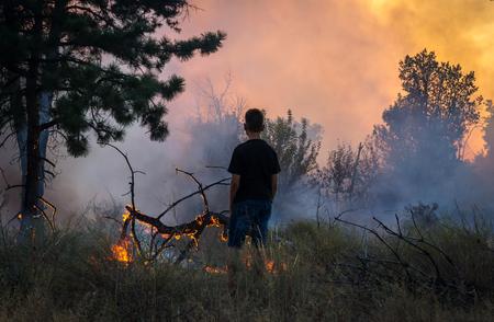 man near, watching a forest fire. danger of fire.