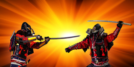 Samurai in ancient armor, with a sword ready to attack at sunset.