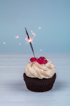 Birthday cupcake with sparkler. Cupcakes for Valentines Day. Love cupcake with heart.