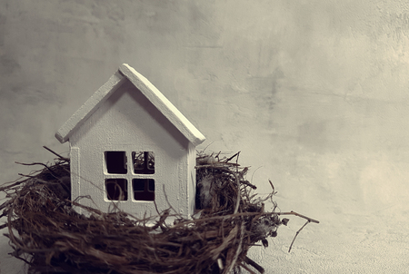 Buying, selling a house, a white house in a nest. house is an investment. Reklamní fotografie