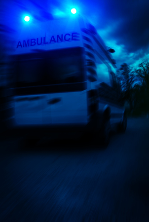 ambulance car on blured background. Ambulance auto paramedic emergency.