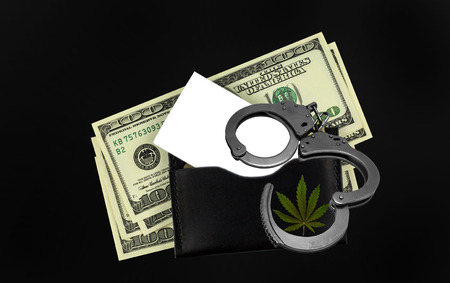 bush marijuana  with money, handcuffs  and wallet. bush cannabis.