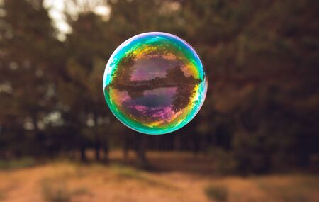 soap bubbles into the sunset with beautiful bokeh
